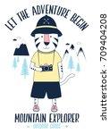 let the adventure begin slogan... | Shutterstock .eps vector #709404208