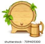 wooden barrel and full wooden...   Shutterstock .eps vector #709405300