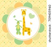 vector baby card with a bunny... | Shutterstock .eps vector #709405960