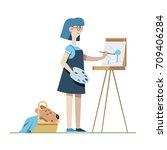 girl artist paints work on... | Shutterstock .eps vector #709406284