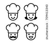 simple cartoon chef icon set.... | Shutterstock .eps vector #709413340