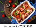 eggplant  aubergine  rolls with ... | Shutterstock . vector #709414288