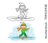 boy is skiing  doing sports ... | Shutterstock .eps vector #709415938
