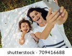happy brunette young smiling... | Shutterstock . vector #709416688