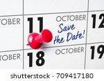 wall calendar with a red pin  ...   Shutterstock . vector #709417180