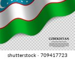 waving flag of uzbekistan on... | Shutterstock .eps vector #709417723