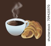 coffee and croissant on dark... | Shutterstock .eps vector #709420570