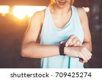 active and healthy woman looks... | Shutterstock . vector #709425274