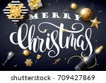 vector illustration of merry... | Shutterstock .eps vector #709427869