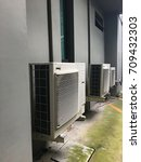 air conditioning behind the... | Shutterstock . vector #709432303