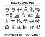 vector set of thin line icons... | Shutterstock .eps vector #709432894