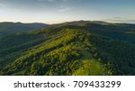 Stock photo aerial view on a forest in wild mountains above europe 709433299
