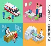 isometric paramedics ambulance... | Shutterstock .eps vector #709433440