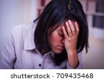 portrait of a depressed... | Shutterstock . vector #709435468