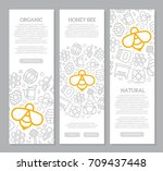 set of three digital honey and... | Shutterstock .eps vector #709437448