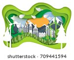 nature landscape and green eco... | Shutterstock .eps vector #709441594