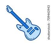 rock guitar vector line icon... | Shutterstock .eps vector #709443943