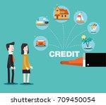 financial adviser offering a... | Shutterstock .eps vector #709450054