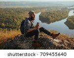 young bearded hipster with... | Shutterstock . vector #709455640