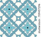 portuguese tiles  quatrefoil... | Shutterstock .eps vector #709457296