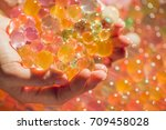 colored balls of water beads ... | Shutterstock . vector #709458028