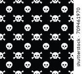 happy halloween pattern skull...   Shutterstock .eps vector #709461970