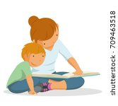 mother and son reading a book ... | Shutterstock .eps vector #709463518