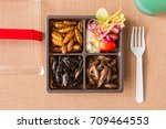 cricket  worm insects with... | Shutterstock . vector #709464553