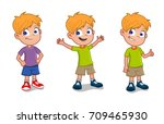 happy boy in different gestures | Shutterstock .eps vector #709465930