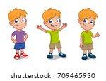 happy boy in different gestures | Shutterstock .eps vector #709465930
