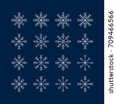 a set of snowflakes on a blue... | Shutterstock .eps vector #709466566