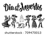 Stock vector day of the dead the skeleton in mexican national costumes dance play the guitar violin trumpet 709470013