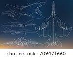 set of military jet fighter...   Shutterstock .eps vector #709471660