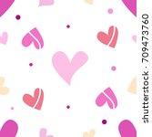 seamless tiling romantic... | Shutterstock . vector #709473760