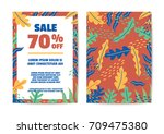 nature sale poster and flyer... | Shutterstock .eps vector #709475380