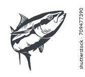 Tuna Fish Symbol On White...