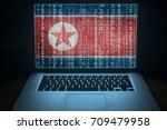 north korea hacker. laptop with ... | Shutterstock . vector #709479958