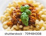 vegetarian vegetable pasta... | Shutterstock . vector #709484308