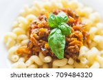 vegetarian vegetable pasta... | Shutterstock . vector #709484320