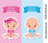 baby shower greeting card with... | Shutterstock .eps vector #709490410