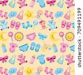 baby shower birth seamless...   Shutterstock .eps vector #709491199