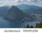 view of lugano from monte bre ... | Shutterstock . vector #709491358