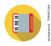 accordion flat icon with long... | Shutterstock .eps vector #709491364