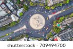 aerial view  road roundabout ... | Shutterstock . vector #709494700