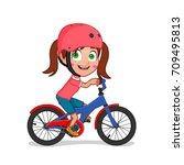 girl riding bike | Shutterstock .eps vector #709495813