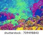 underwater landscape with... | Shutterstock . vector #709498843