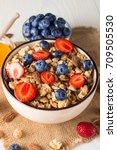 healthy breakfast concept with... | Shutterstock . vector #709505530