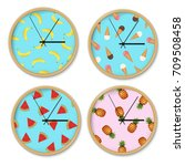 clock with banana pattern set... | Shutterstock .eps vector #709508458