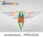 visual drawing sport swimming... | Shutterstock .eps vector #709514233