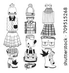 hand drawn fall fashion... | Shutterstock .eps vector #709515268